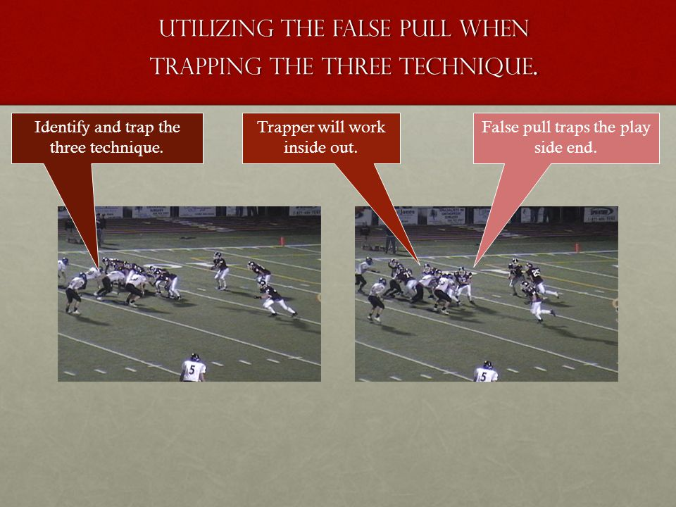 Utilizing the false pull when trapping the three technique. False pull traps the play side end. Trapper will work inside out. Identify and trap the th