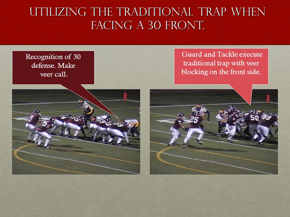 Utilizing the traditional trap when facing a 30 front. Recognition of 30 defense. Make veer call. Guard and Tackle execute traditional trap with veer