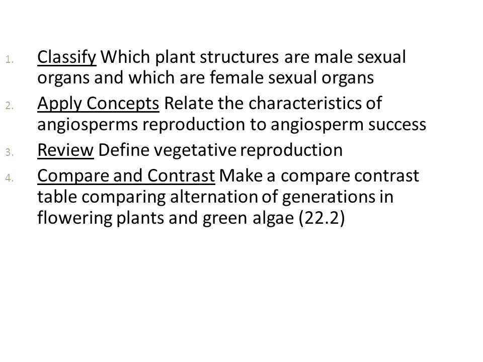 1. Classify Which plant structures are male sexual organs and which are female sexual organs 2. Apply Concepts Relate the characteristics of angiosper
