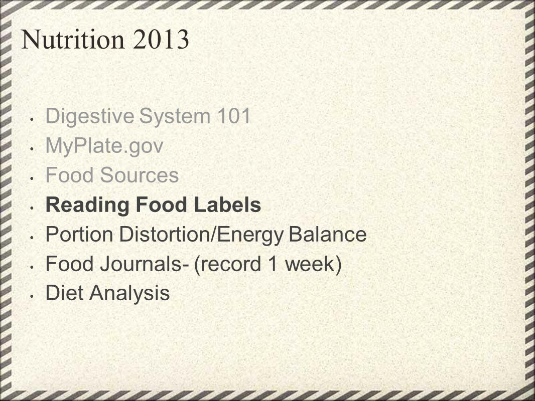 Nutrition 2013 Digestive System 101 MyPlate.gov Food Sources Reading Food Labels Portion Distortion/Energy Balance Food Journals- (record 1 week) Diet