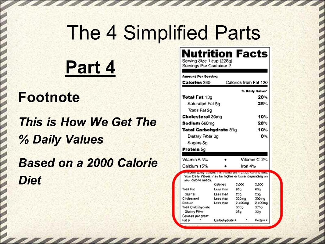The 4 Simplified Parts Part 4 Footnote This is How We Get The % Daily Values Based on a 2000 Calorie Diet