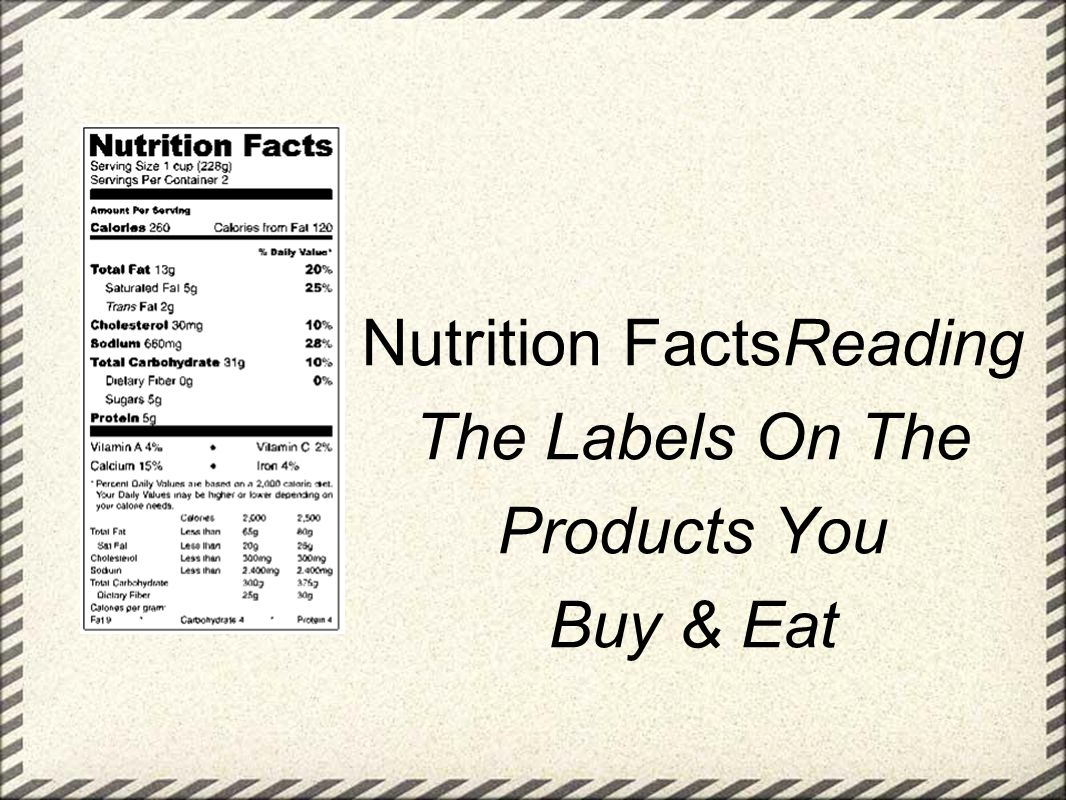 Nutrition FactsReading The Labels On The Products You Buy & Eat