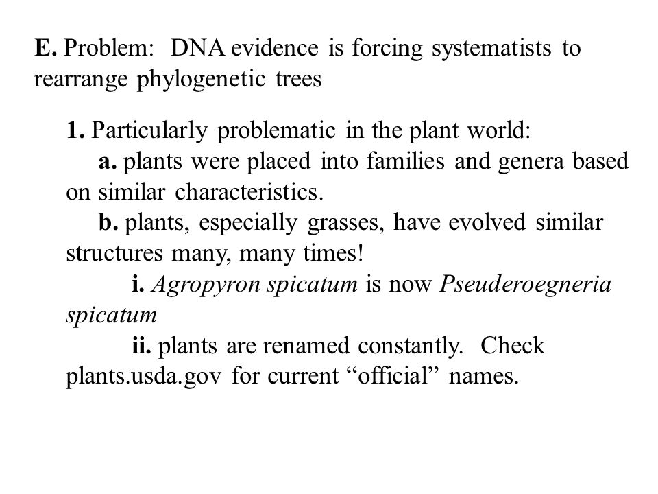 E. Problem: DNA evidence is forcing systematists to rearrange phylogenetic trees 1.