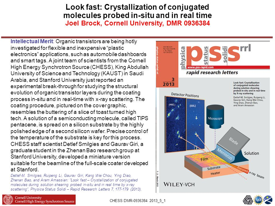 CHESS DMR-0936384 2013_5_1 Look fast: Crystallization of conjugated molecules probed in-situ and in real time Joel Brock, Cornell University, DMR 0936384 Detlef-M.