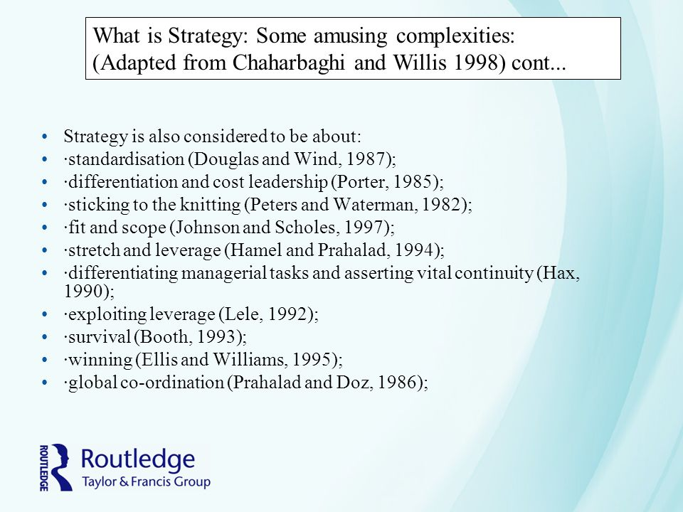 What is Strategy: Some amusing complexities: (Adapted from Chaharbaghi and Willis 1998) cont...