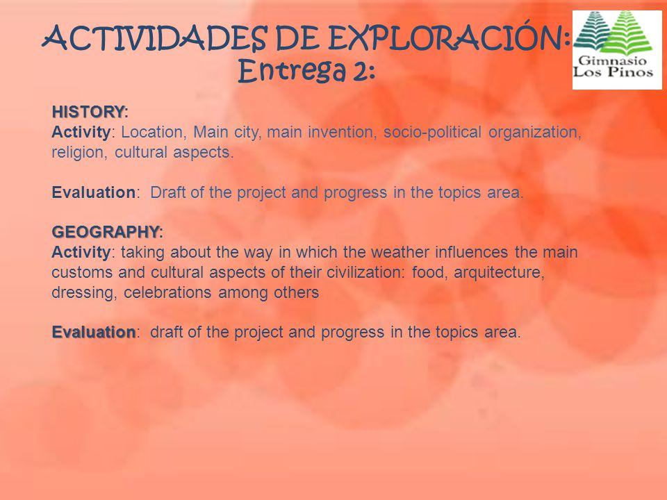 ACTIVIDADES DE EXPLORACIÓN: Entrega 2: HISTORY HISTORY: Activity: Location, Main city, main invention, socio-political organization, religion, cultura