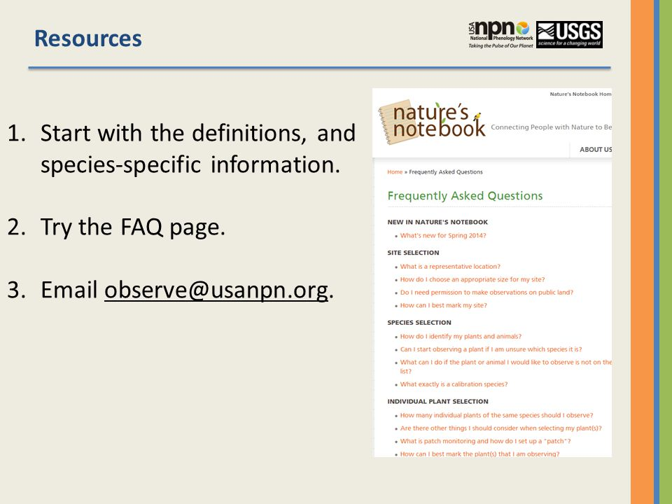 Resources 1.Start with the definitions, and species-specific information.