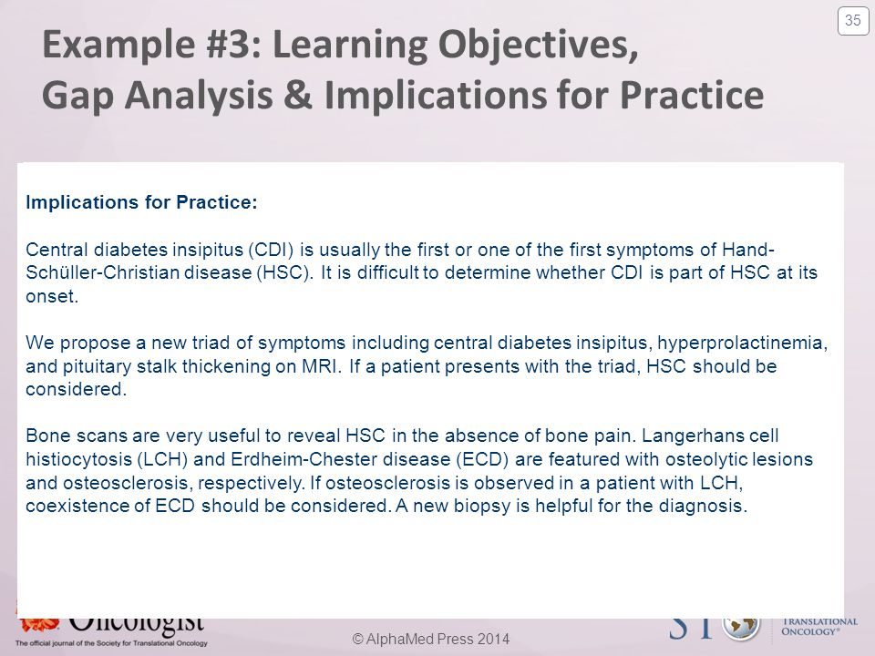 35 © AlphaMed Press 2014 Example #3: Learning Objectives, Gap Analysis & Implications for Practice Learning Objectives: 1. know how to differentiate E