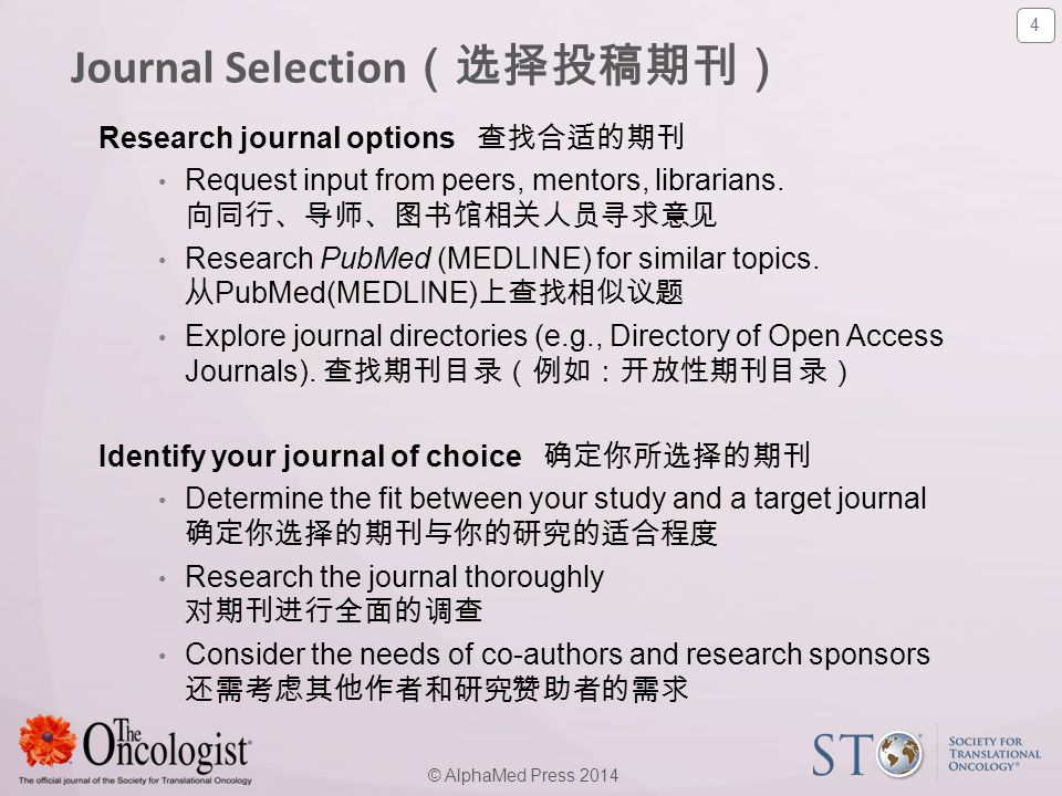 5 © AlphaMed Press 2014 Considerations: 考虑因素 ● scope and aims of the journal 期刊的宗旨和涉及范围 - (e.g.