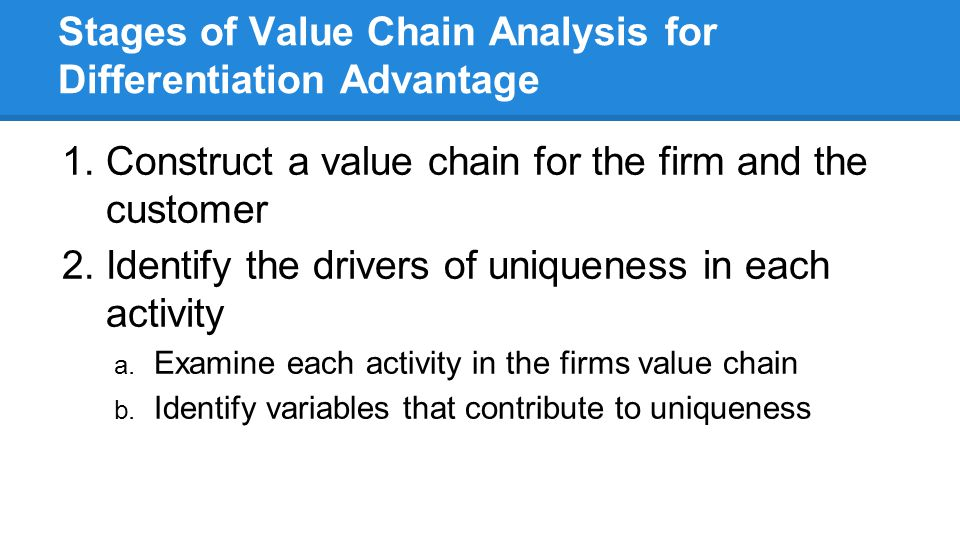 Stages of Value Chain Analysis for Differentiation Advantage 1.Construct a value chain for the firm and the customer 2.Identify the drivers of uniqueness in each activity a.