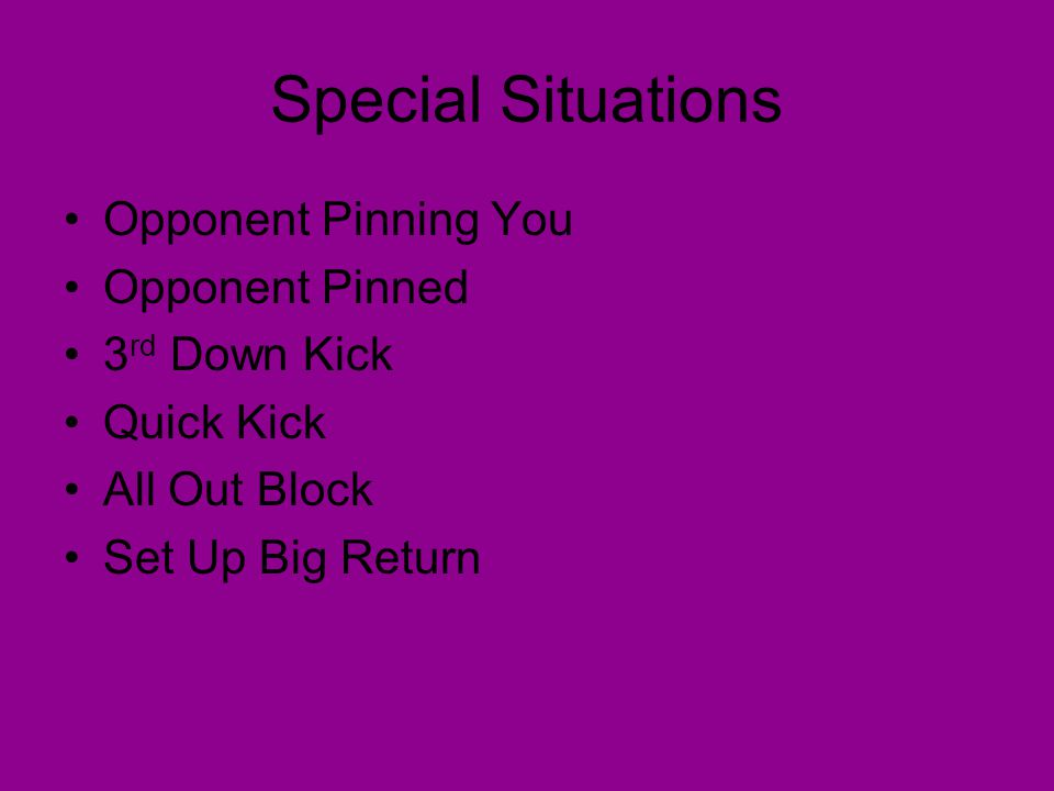 Special Situations Opponent Pinning You Opponent Pinned 3 rd Down Kick Quick Kick All Out Block Set Up Big Return