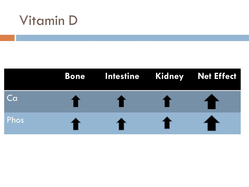 Vitamin D BoneIntestineKidneyNet Effect Ca Phos