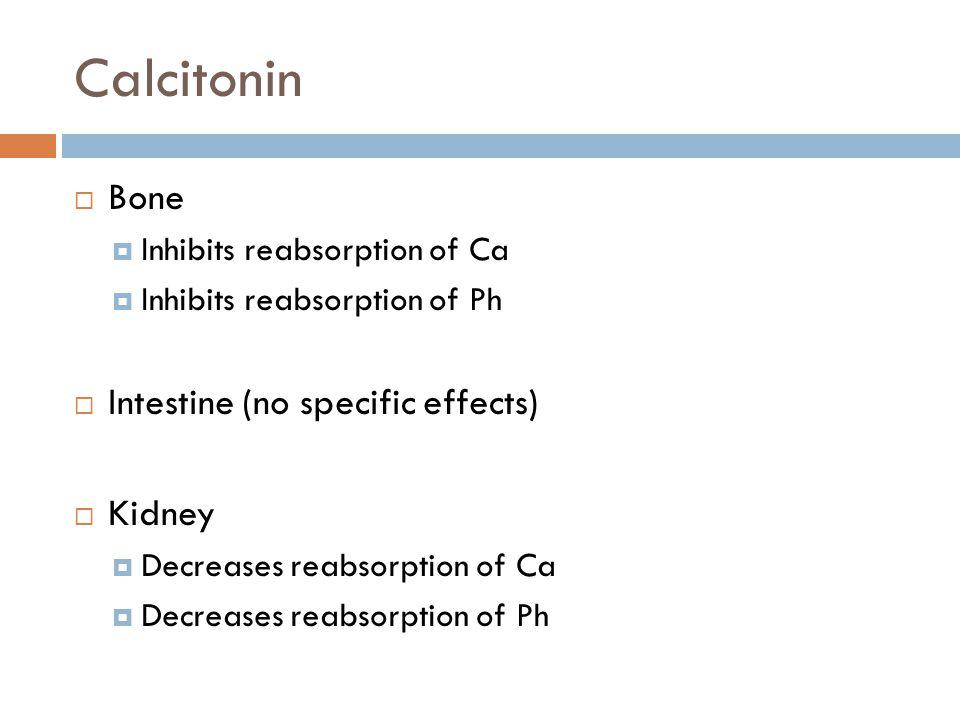 Calcitonin  Bone  Inhibits reabsorption of Ca  Inhibits reabsorption of Ph  Intestine (no specific effects)  Kidney  Decreases reabsorption of Ca  Decreases reabsorption of Ph