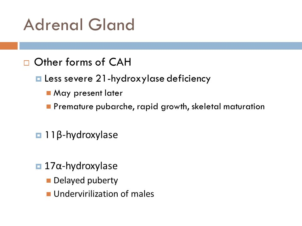 Adrenal Gland  Other forms of CAH  Less severe 21-hydroxylase deficiency May present later Premature pubarche, rapid growth, skeletal maturation  11 β-hydroxylase  17α-hydroxylase Delayed puberty Undervirilization of males
