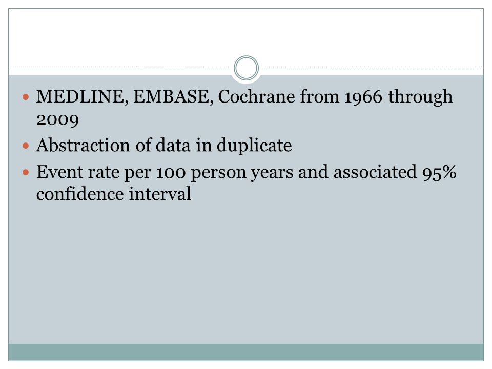 MEDLINE, EMBASE, Cochrane from 1966 through 2009 Abstraction of data in duplicate Event rate per 100 person years and associated 95% confidence interv