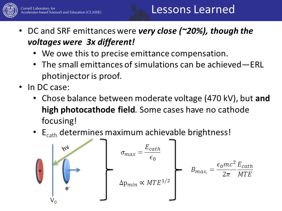 Lessons Learned DC and SRF emittances were very close (~20%), though the voltages were 3x different! We owe this to precise emittance compensation. Th