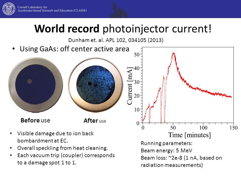 World record photoinjector current. Dunham et. al.