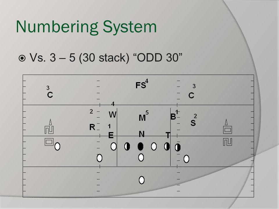 """Numbering System  Vs. 3 – 5 (30 stack) """"ODD 30"""""""