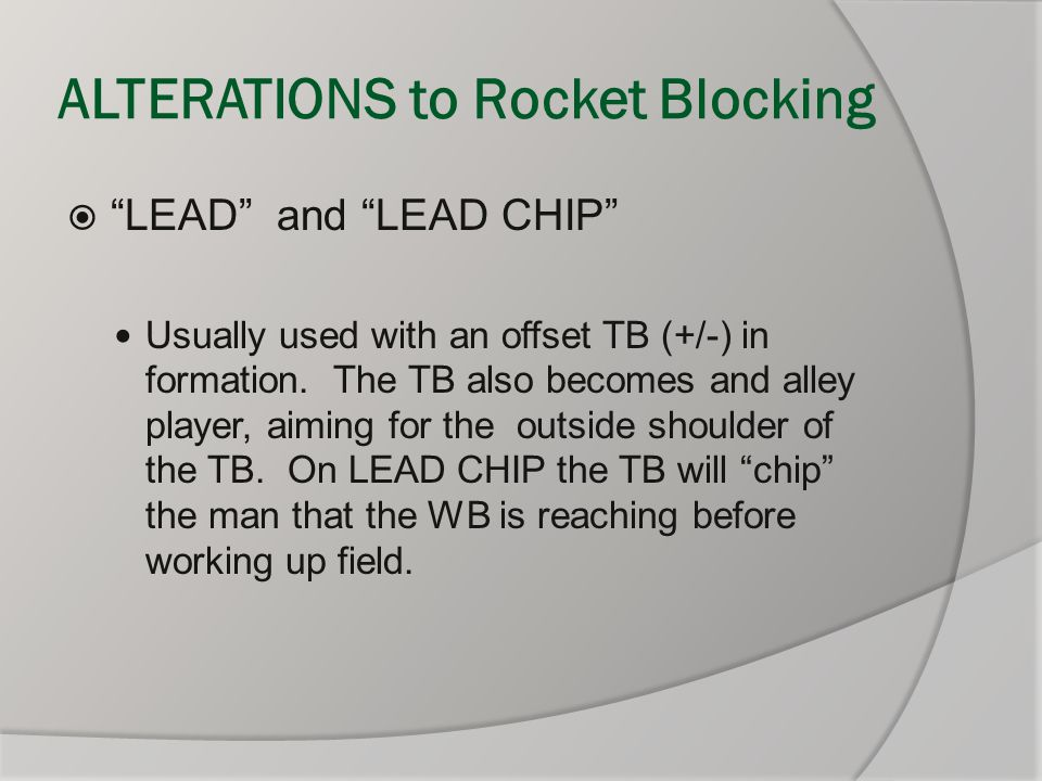 """ALTERATIONS to Rocket Blocking  """"LEAD"""" and """"LEAD CHIP"""" Usually used with an offset TB (+/-) in formation. The TB also becomes and alley player, aimin"""