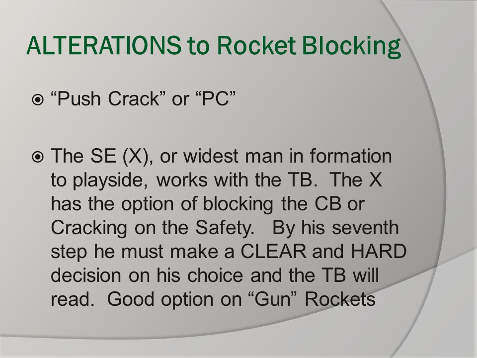"""ALTERATIONS to Rocket Blocking  """"Push Crack"""" or """"PC""""  The SE (X), or widest man in formation to playside, works with the TB. The X has the option of"""