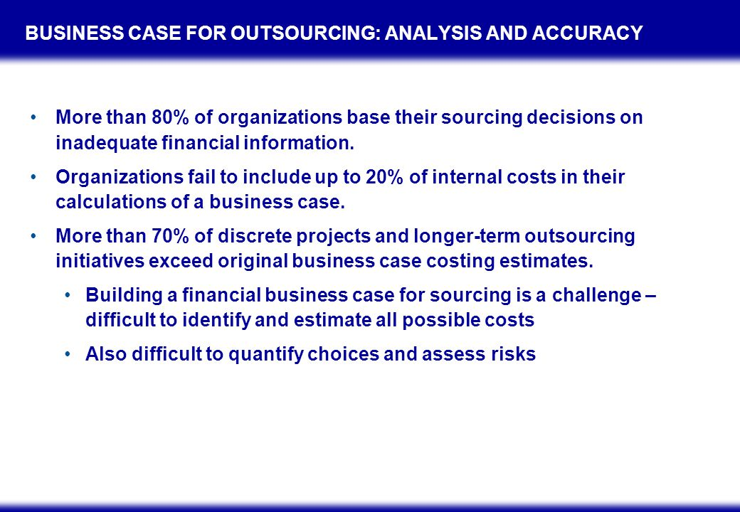 HIDDEN COSTS OF GLOBAL SOURCING Hidden Costs Project Management Onshore/Offshore Coordination Demands Relationship Management Cross-Cultural Issues Connectivity and Telecom Single Domestic vs.