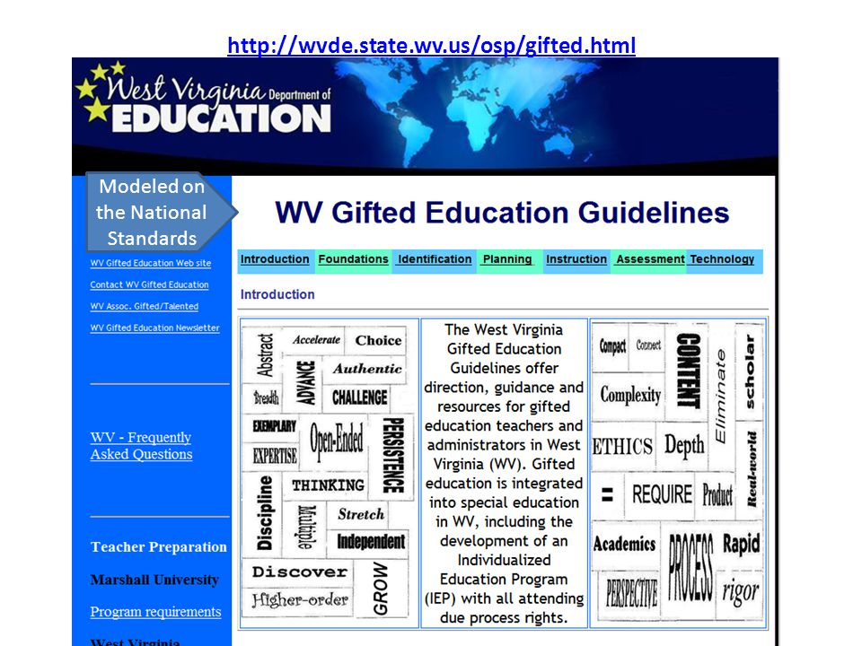 http://wvde.state.wv.us/osp/gifted.html Modeled on the National Standards