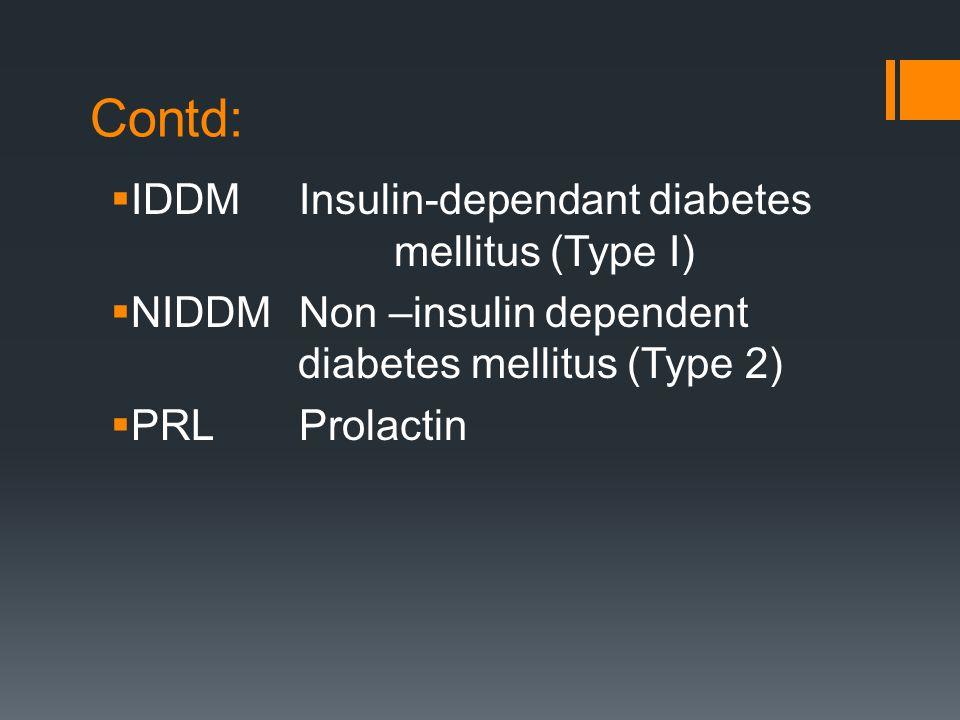 Contd:  IDDMInsulin-dependant diabetes mellitus (Type I)  NIDDMNon –insulin dependent diabetes mellitus (Type 2)  PRLProlactin