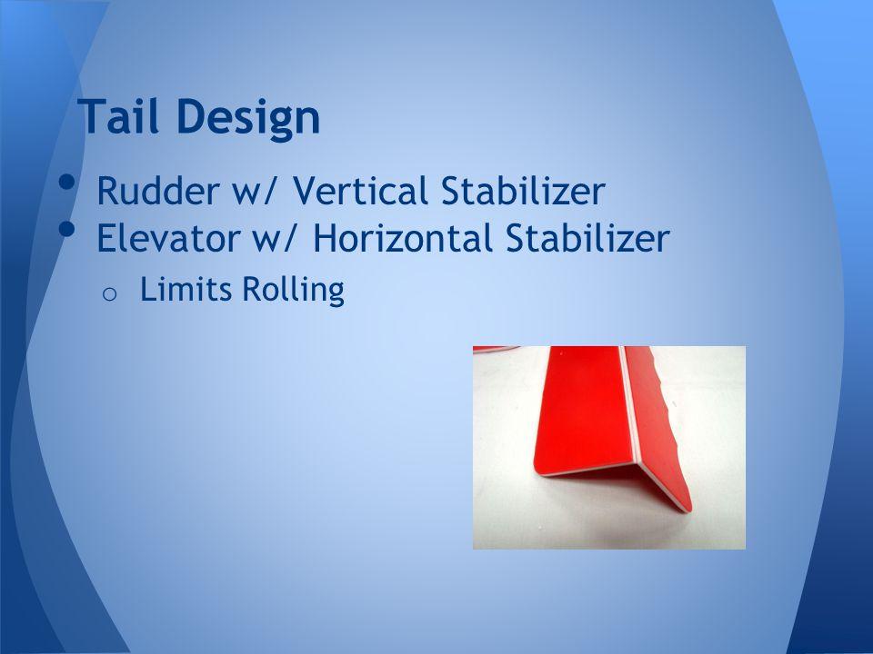 Tail Design Rudder w/ Vertical Stabilizer Elevator w/ Horizontal Stabilizer o Limits Rolling