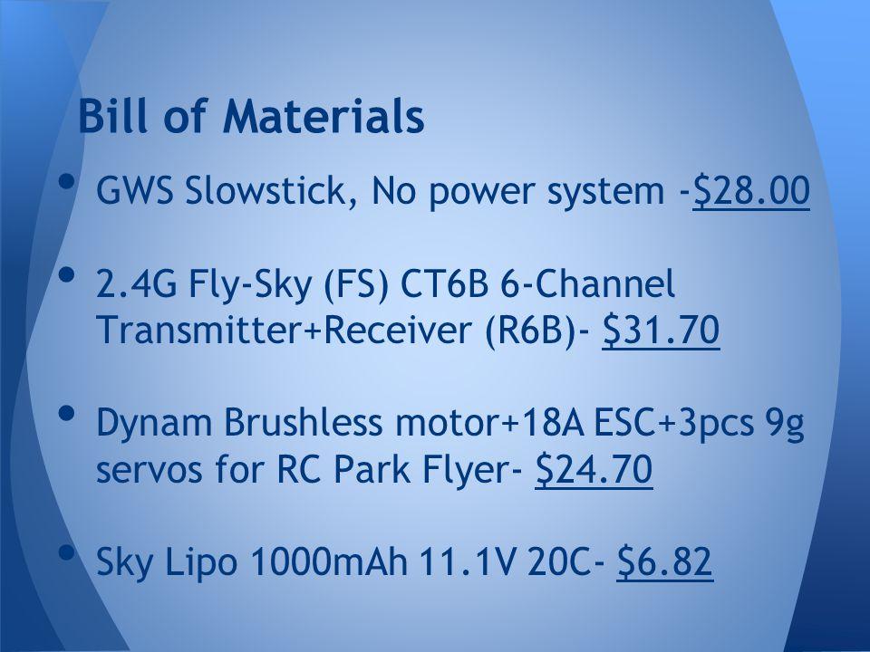 Bill of Materials GWS Slowstick, No power system -$28.00 2.4G Fly-Sky (FS) CT6B 6-Channel Transmitter+Receiver (R6B)- $31.70 Dynam Brushless motor+18A ESC+3pcs 9g servos for RC Park Flyer- $24.70 Sky Lipo 1000mAh 11.1V 20C- $6.82