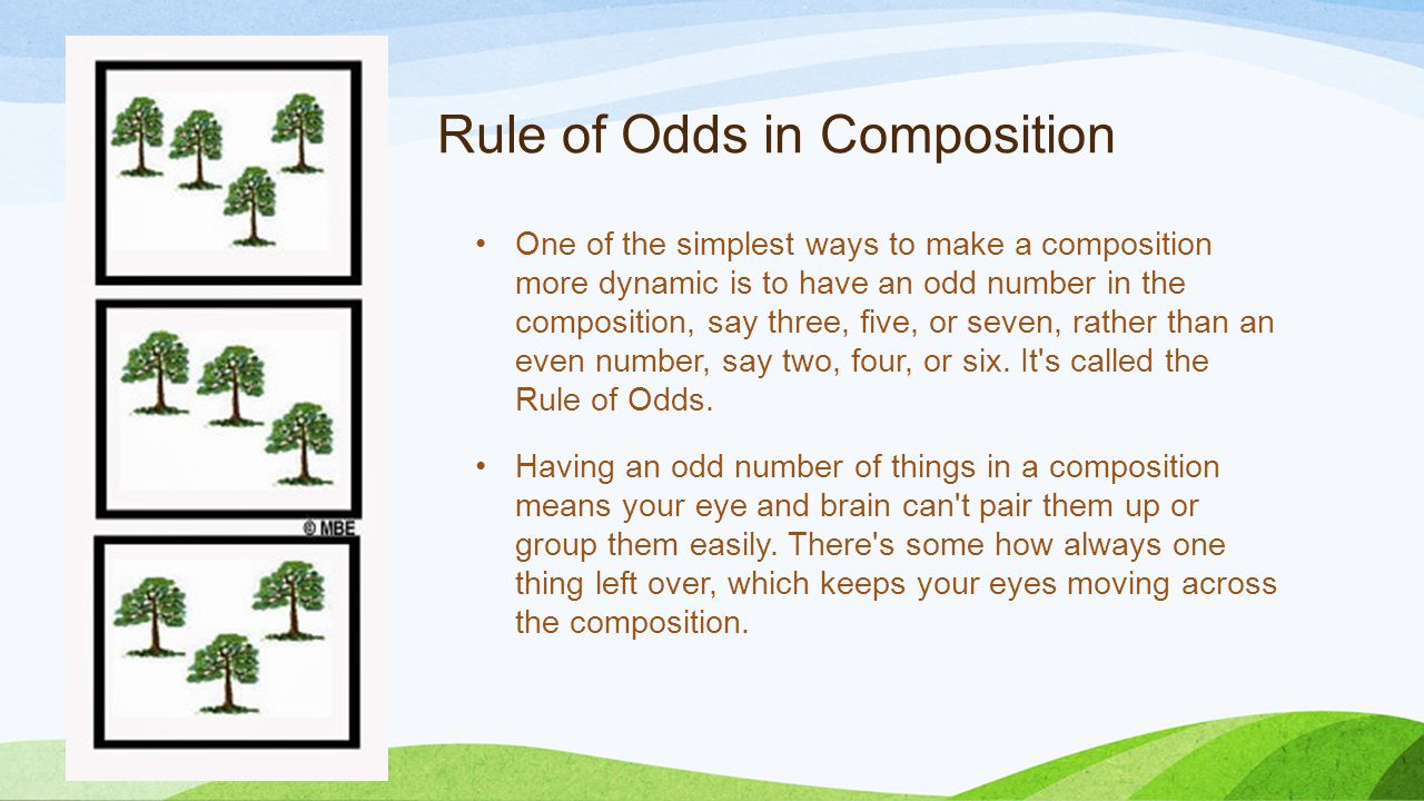 Rule of Odds in Composition One of the simplest ways to make a composition more dynamic is to have an odd number in the composition, say three, five, or seven, rather than an even number, say two, four, or six.