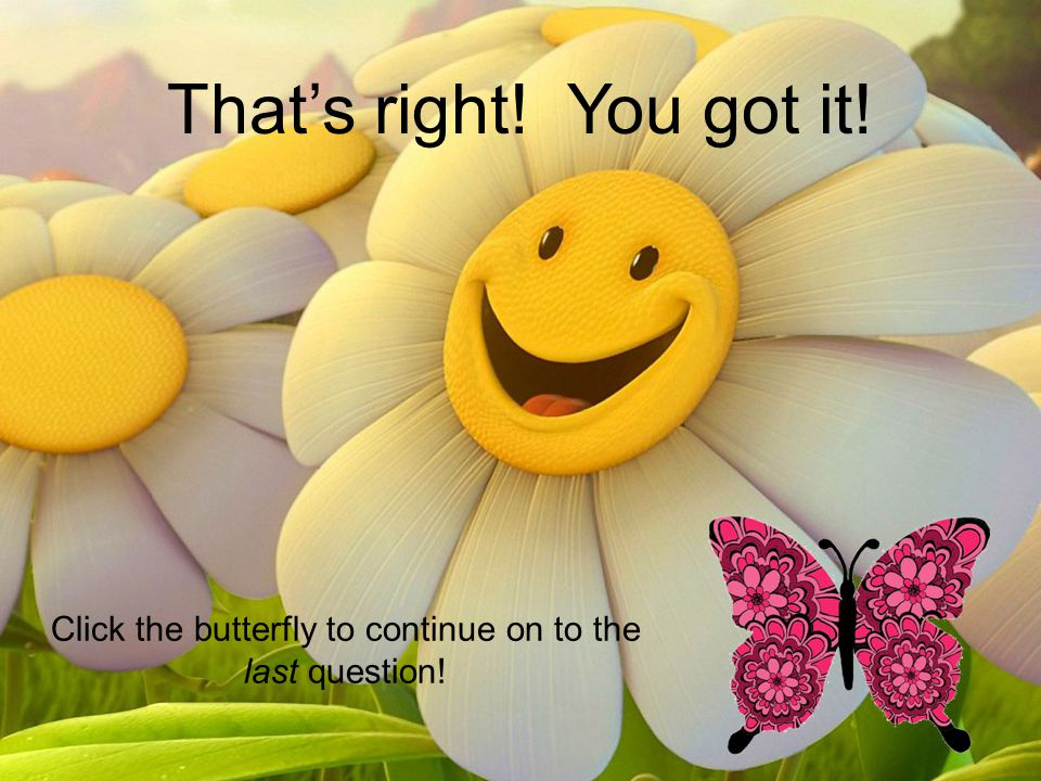 That's right! You got it! Click the butterfly to continue on to the last question!