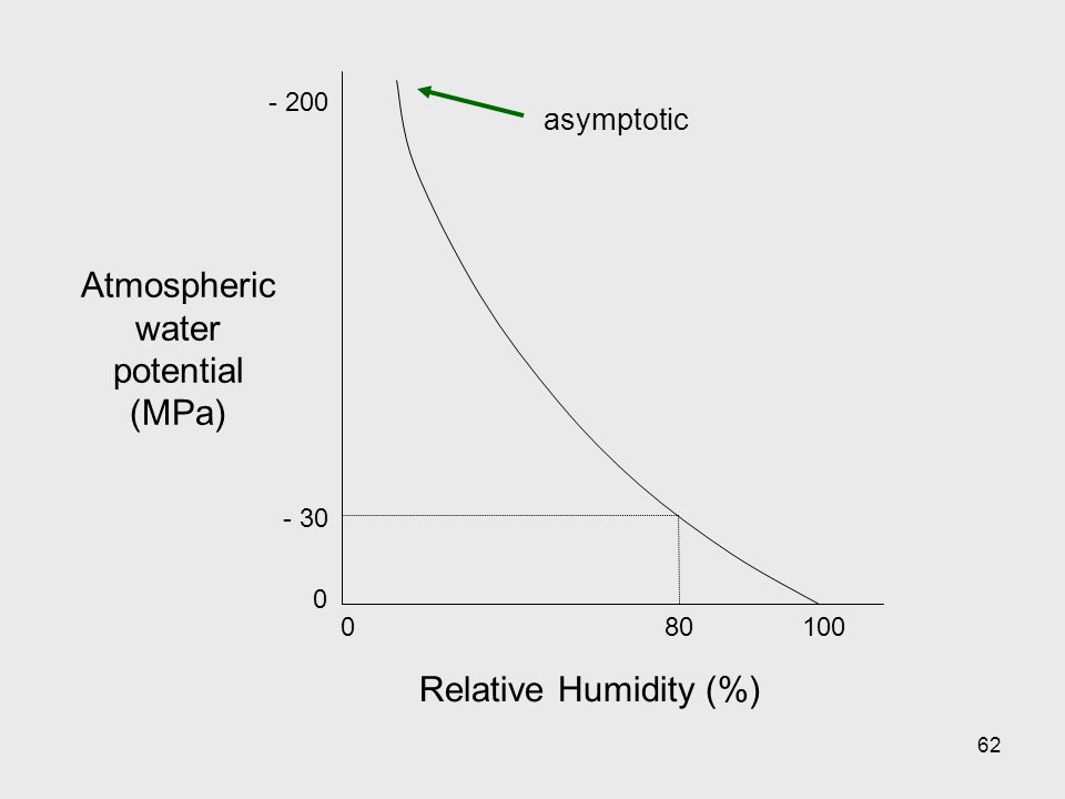 62 Atmospheric water potential (MPa) Relative Humidity (%) 010080 - 200 - 30 0 asymptotic