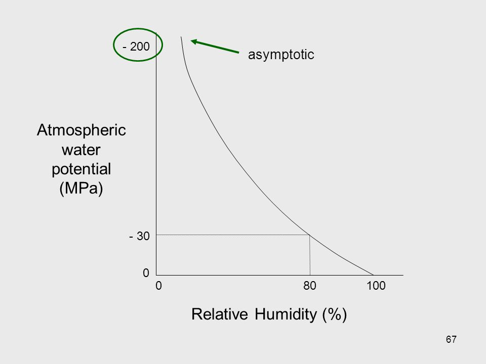67 Atmospheric water potential (MPa) Relative Humidity (%) 010080 - 200 - 30 0 asymptotic