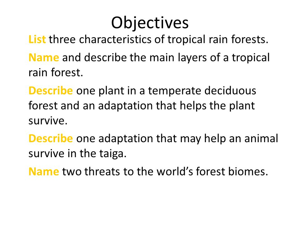 Objectives List three characteristics of tropical rain forests. Name and describe the main layers of a tropical rain forest. Describe one plant in a t
