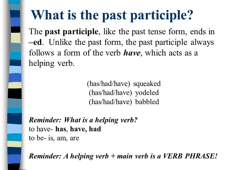 Let's try it Base Form Present Participle (is/am/are) Past Past Participle (have/had/has) collect(is) collectingcollected(have) collected stalk skip know meet speak
