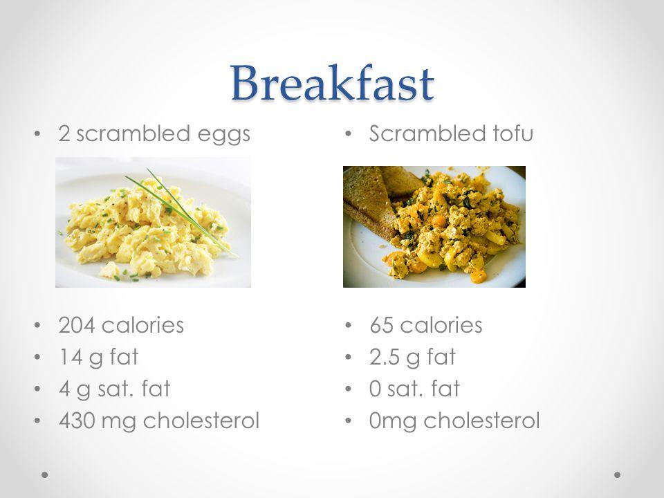 Breakfast Scrambled tofu 65 calories 2.5 g fat 0 sat.