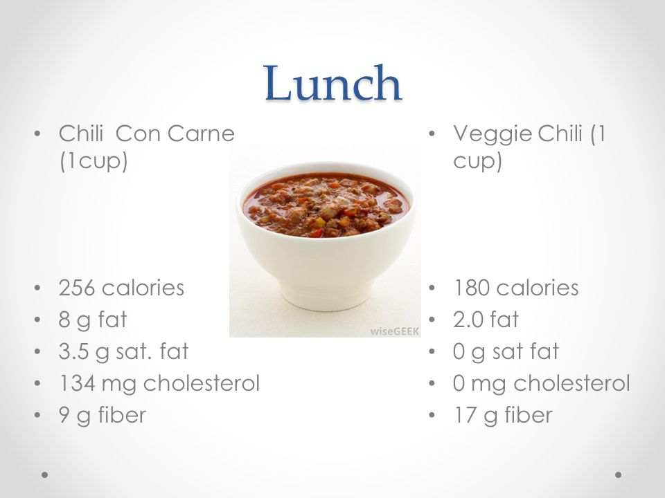 Lunch Veggie Chili (1 cup) 180 calories 2.0 fat 0 g sat fat 0 mg cholesterol 17 g fiber Chili Con Carne (1cup) 256 calories 8 g fat 3.5 g sat.