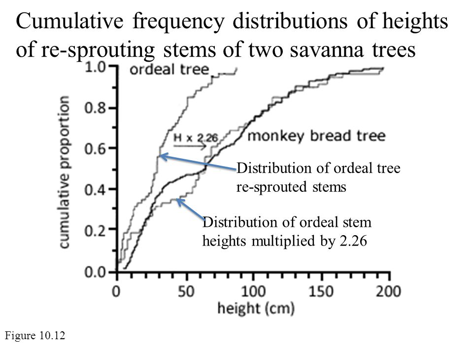 Cumulative frequency distributions of heights of re-sprouting stems of two savanna trees Figure 10.12 Distribution of ordeal tree re-sprouted stems Distribution of ordeal stem heights multiplied by 2.26