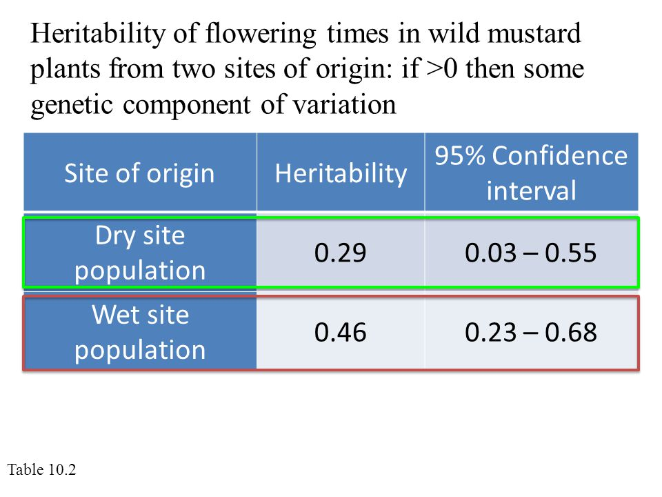 Heritability of flowering times in wild mustard plants from two sites of origin: if >0 then some genetic component of variation Site of originHeritability 95% Confidence interval Dry site population 0.290.03 – 0.55 Wet site population 0.460.23 – 0.68 Table 10.2