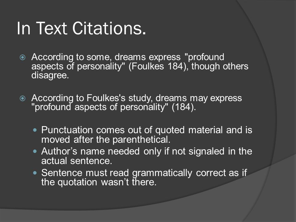 In Text Citations.