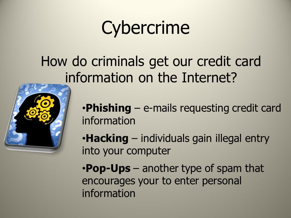 Cybercrime How do criminals get our credit card information on the Internet.
