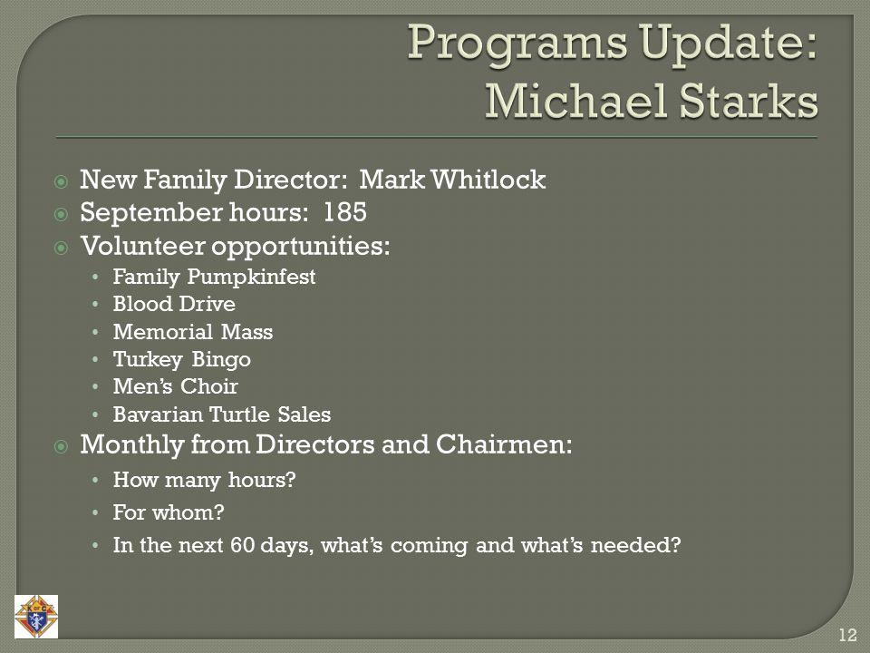  New Family Director: Mark Whitlock  September hours: 185  Volunteer opportunities: Family Pumpkinfest Blood Drive Memorial Mass Turkey Bingo Men's