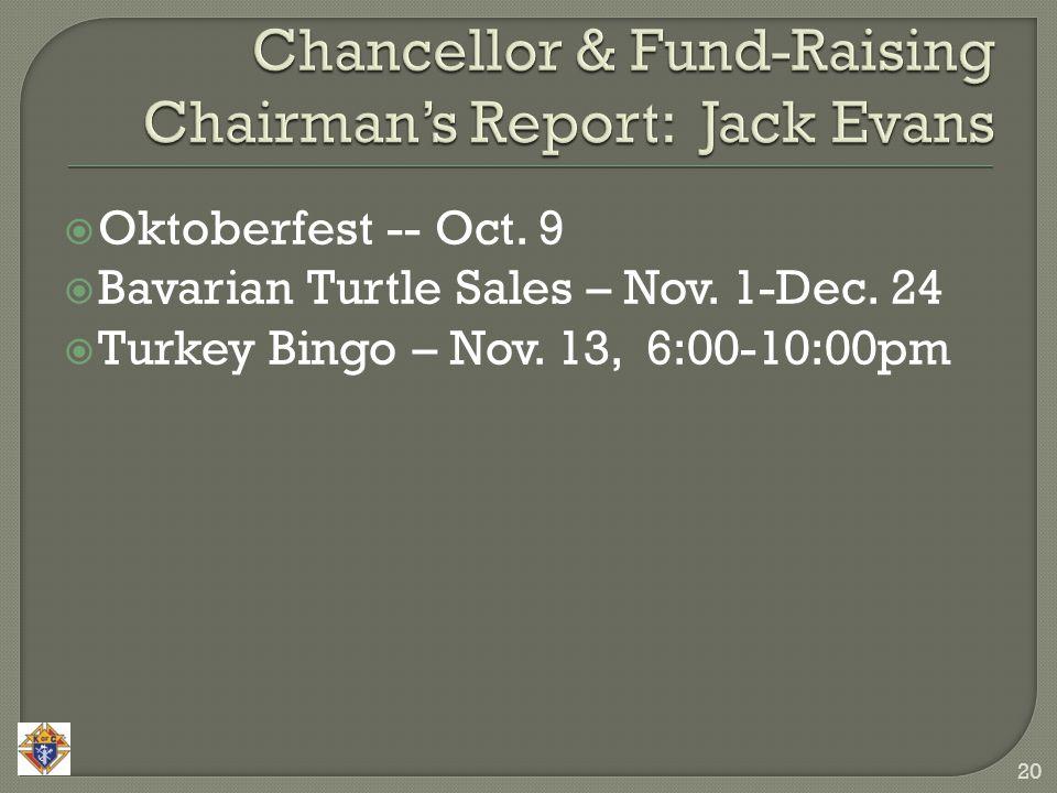  Oktoberfest -- Oct. 9  Bavarian Turtle Sales – Nov. 1-Dec. 24  Turkey Bingo – Nov. 13, 6:00-10:00pm 20
