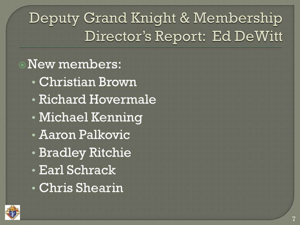  New members: Christian Brown Richard Hovermale Michael Kenning Aaron Palkovic Bradley Ritchie Earl Schrack Chris Shearin 7