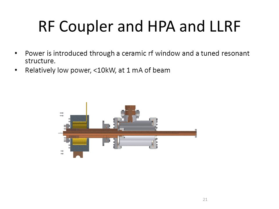 RF Coupler and HPA and LLRF Power is introduced through a ceramic rf window and a tuned resonant structure.