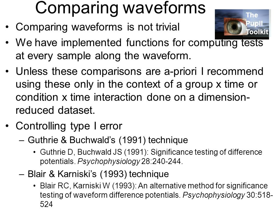 Comparing waveforms Comparing waveforms is not trivial We have implemented functions for computing tests at every sample along the waveform.