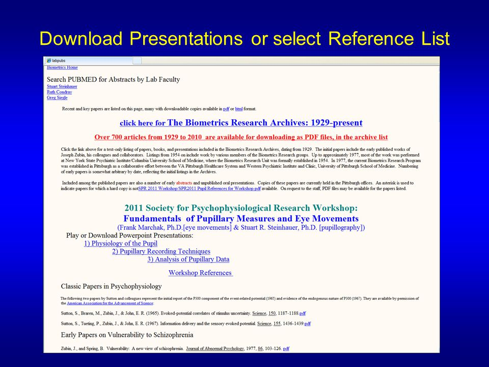 Download Presentations or select Reference List