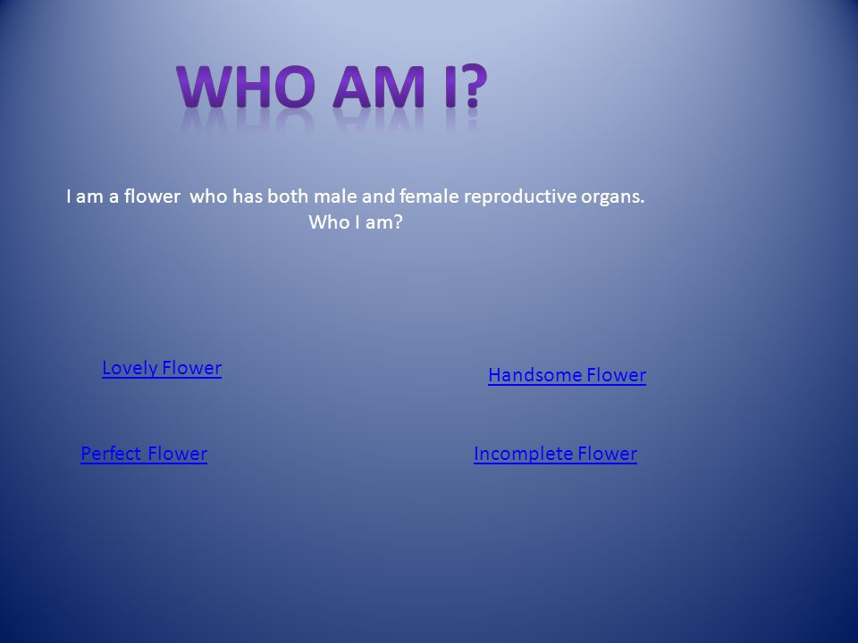 I am a flower who has both male and female reproductive organs.