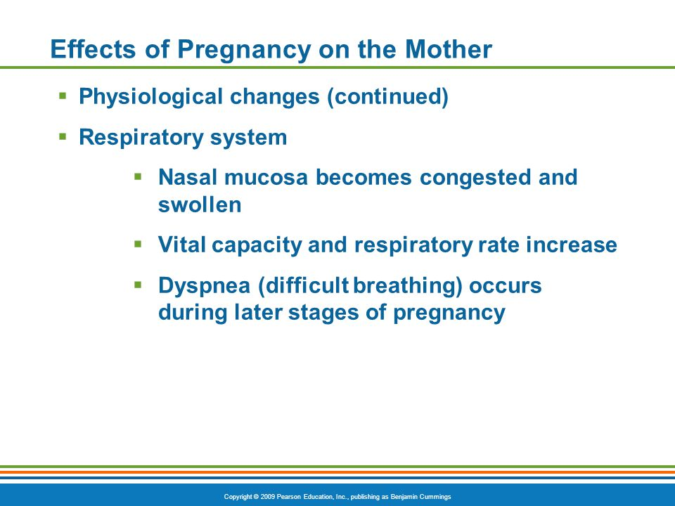 Copyright © 2009 Pearson Education, Inc., publishing as Benjamin Cummings Effects of Pregnancy on the Mother  Physiological changes (continued)  Res