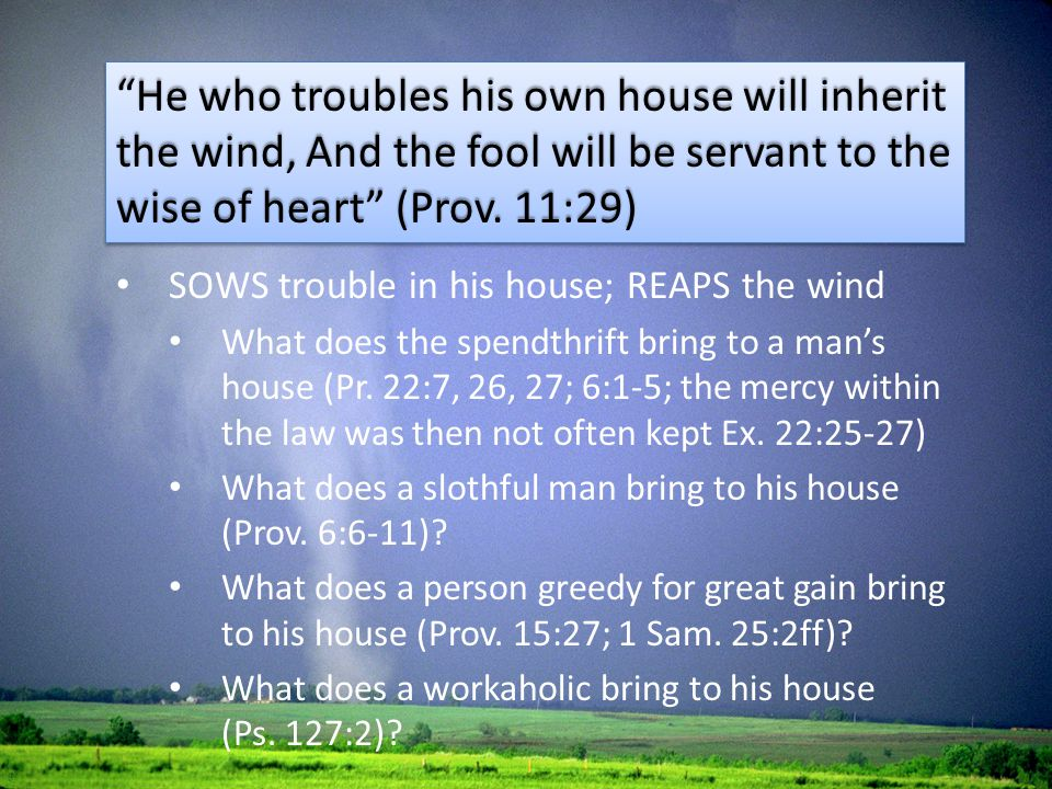 SOWS trouble in his house; REAPS the wind What does the spendthrift bring to a man's house (Pr. 22:7, 26, 27; 6:1-5; the mercy within the law was then